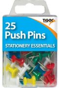 Tiger Stationery Pack of 25 Coloured Push Pins
